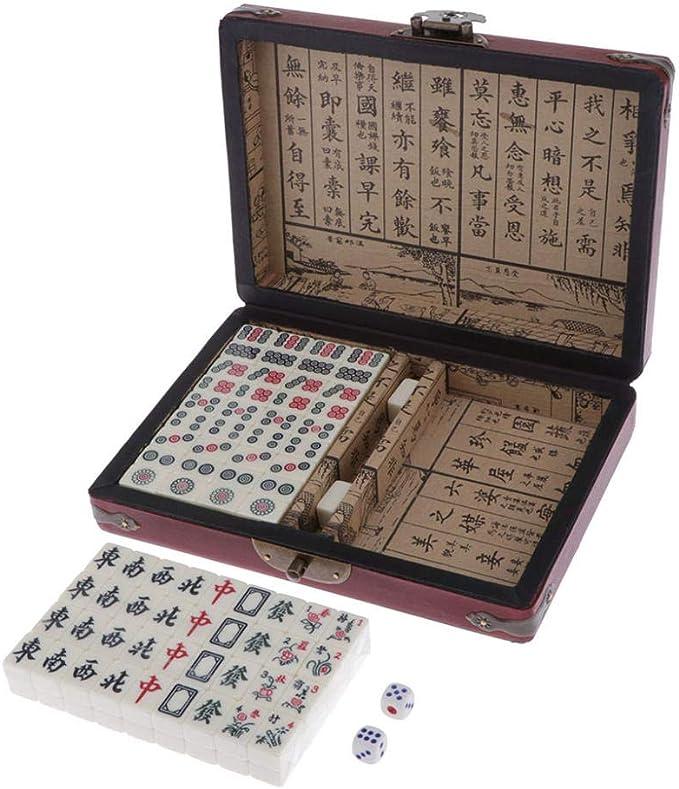 Jenny.Ben Mahjong Chino Profesional Set Estuche de Madera para Suministros de Juegos de Mesa Chinos: Amazon.es: Hogar