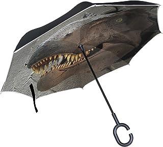 BENNIGIRY tirannosauro Rex dinosauro a doppio strato invertito di ombrelli Reverse ombrello pieghevole, antivento protezione UV Big dritto ombrello per auto pioggia Outdoor con manico a C