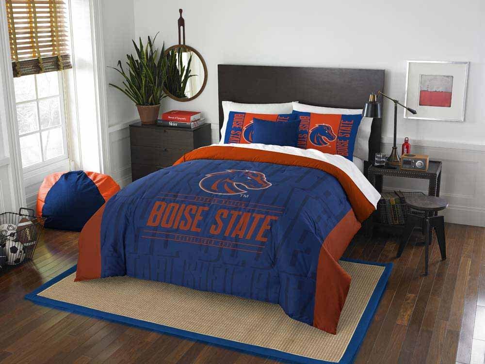 3 Piece NCAA Broncos Comforter Full Queen Set, Blue Orange Multi Sports Patterned, College Football Themed Bedding, Team Logo Fan Merchandise Athletic Team Spirit Fan, Polyester, For Unisex
