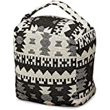 Whole House Worlds Eco Lodge Door Stopper, Ikat, White Black, Cube, Carry Handle, Durable Cotton Polyester Blend, Mixed Material Stuffing, 6 3/4 L x 5 W x 8 3/4 H Inches, 3 1/2 lbs, by WHW