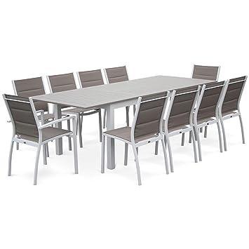 Salon de Jardin - Chicago Taupe - Table Extensible 175/245cm avec rallonge  et 8 assises en textilène