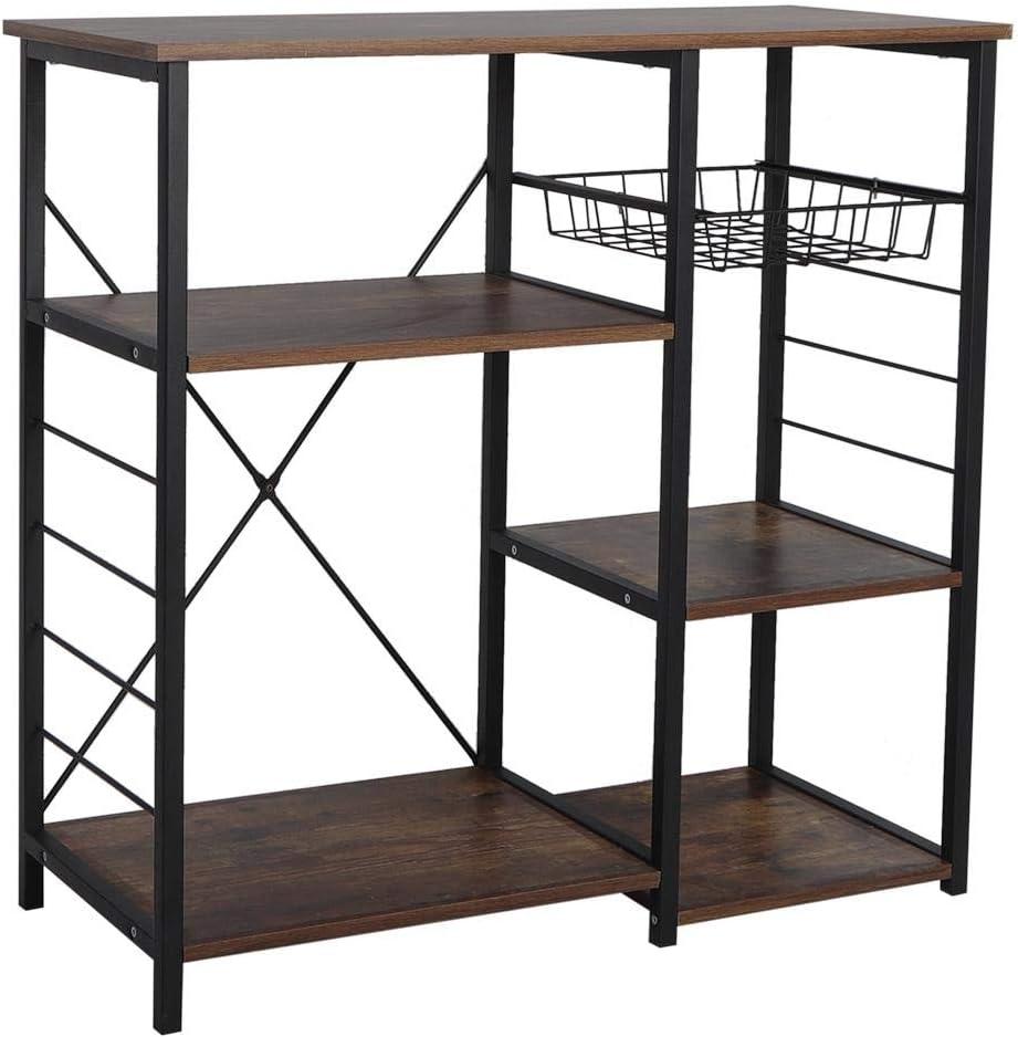 AYNEFY Microwave Stand Storage Rack 3-Tier Rustic Brown /& Black Metal Frame Bakers Rack Utility Storage Shelf Microwave Stand Kitchen Organizers Shelf 35.4x11.8x33.5