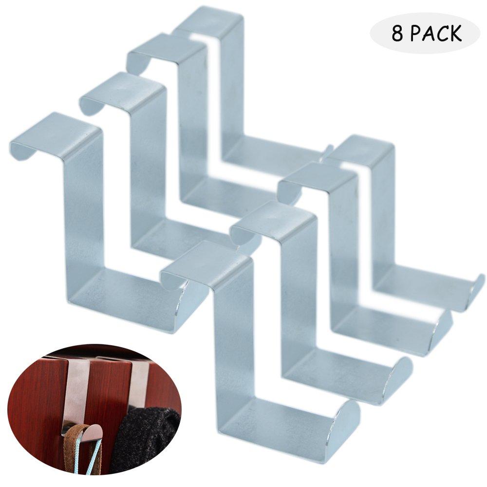 Baoii 8 confezione da armadio e cassetto ganci in acciaio INOX gancio da porta, metallo reversibile per porte e armadietti, cassetti