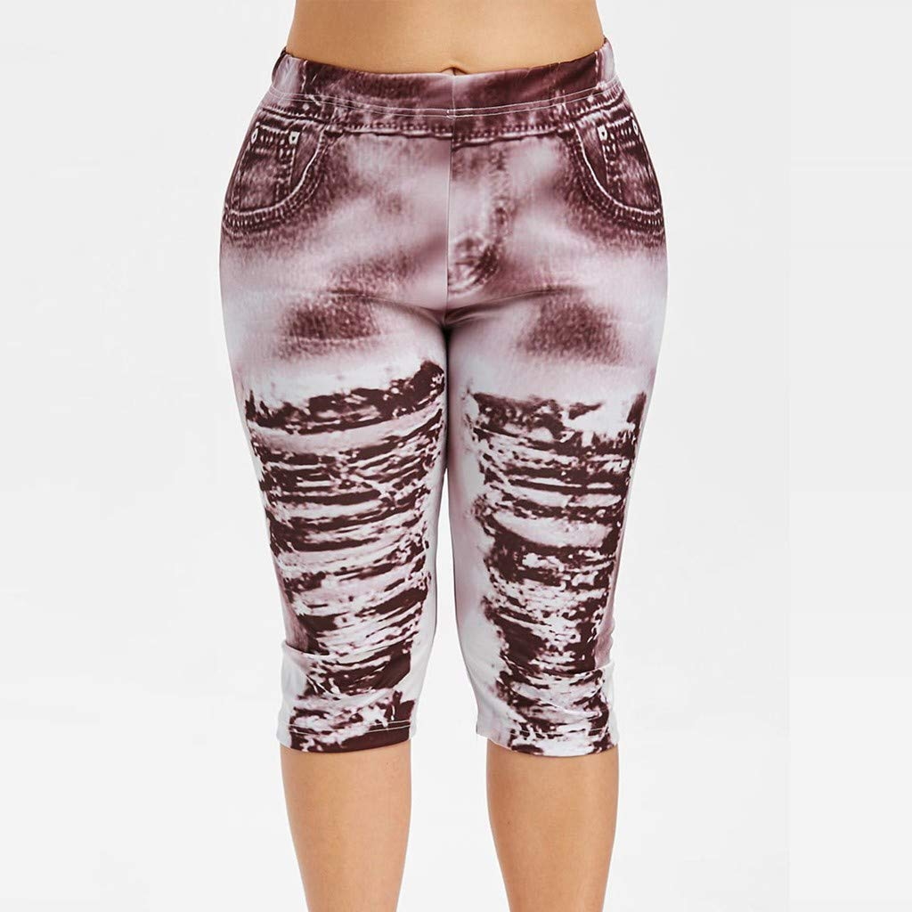 Farmerl 2019 Women Jeans High Waist Yoga Pants Plus Size Ripped Print Leggings