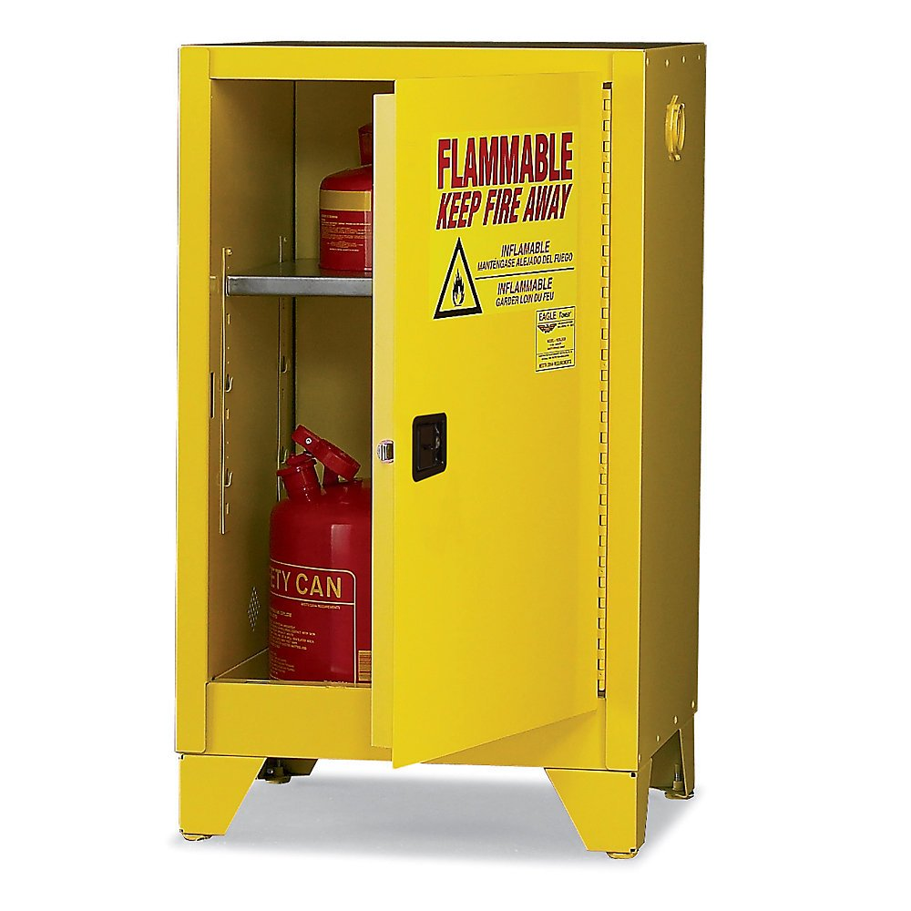 Eagle 1925LEGS Safety Cabinet for Flammable Liquids, 1 Door Manual Close, 12 gallon, 39''Height, 23''Width, 18''Depth, Steel, Yellow
