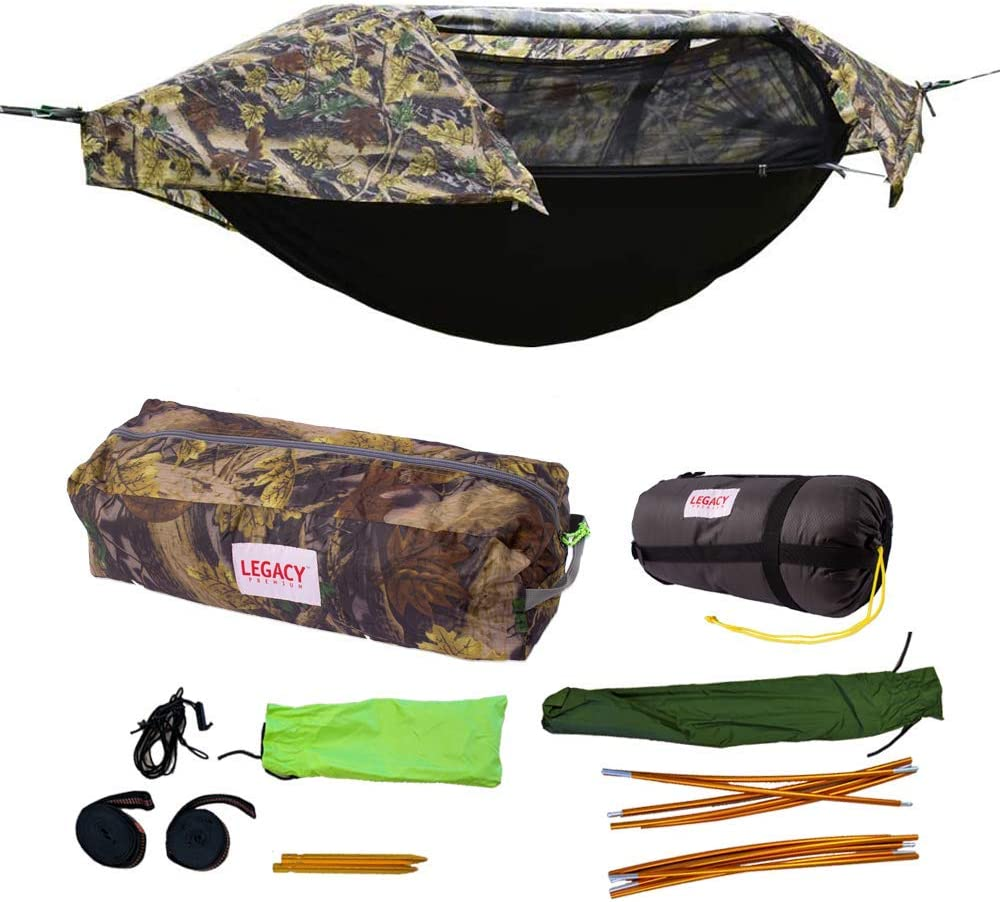 Legacy Premium Food Storage Camping Hammock Tent - Parachute Nylon - Portable, 1 Person Compact Backpacking - Outdoor & Emergency Gear - Tree Straps, Tie Ropes, Mosquito Net, Rain Fly