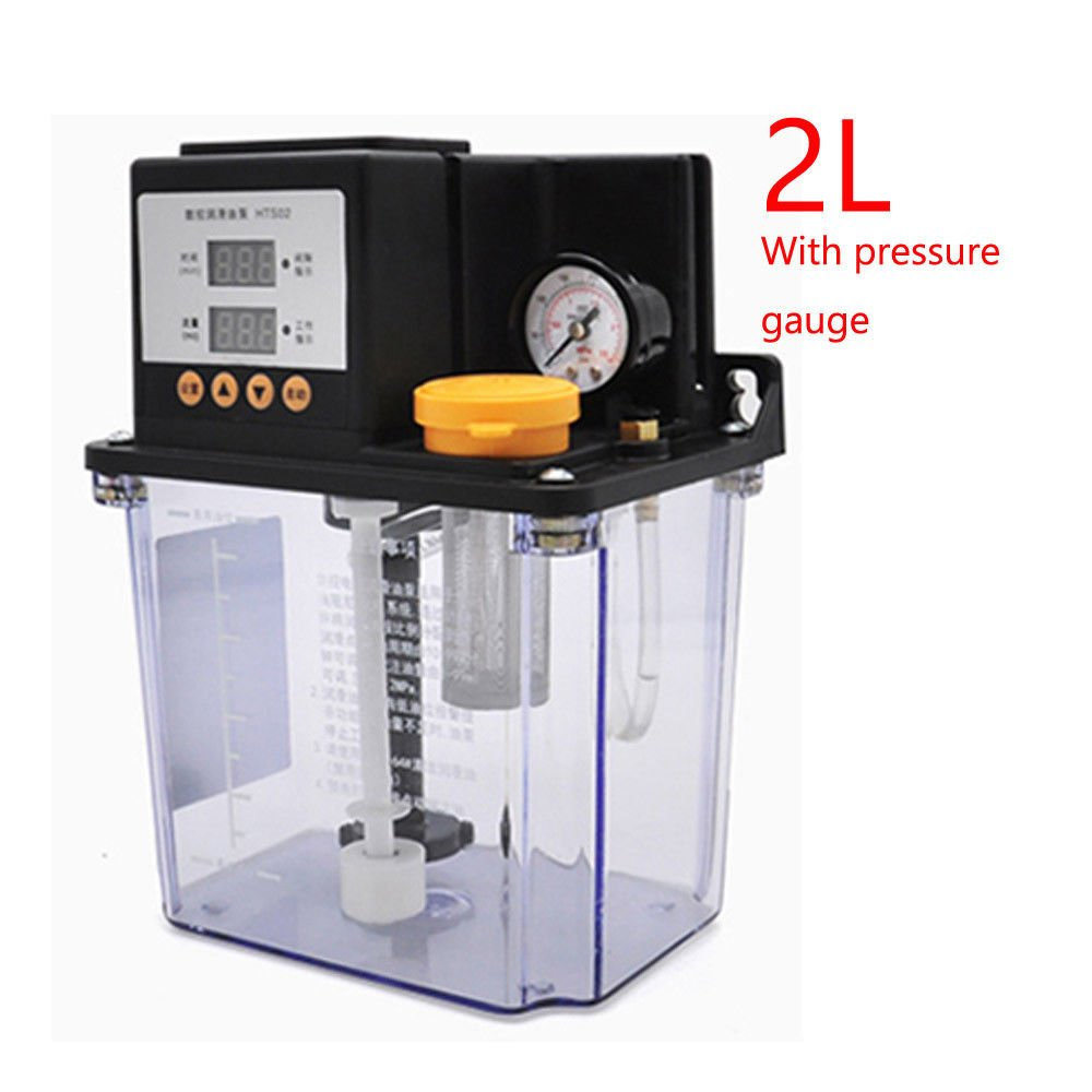 Automatic Lubrication Pump Dual Digital Display Oil Pump Electromagnetic CNC Lathe Pump Electric Oiler 2L with Pressure Meter