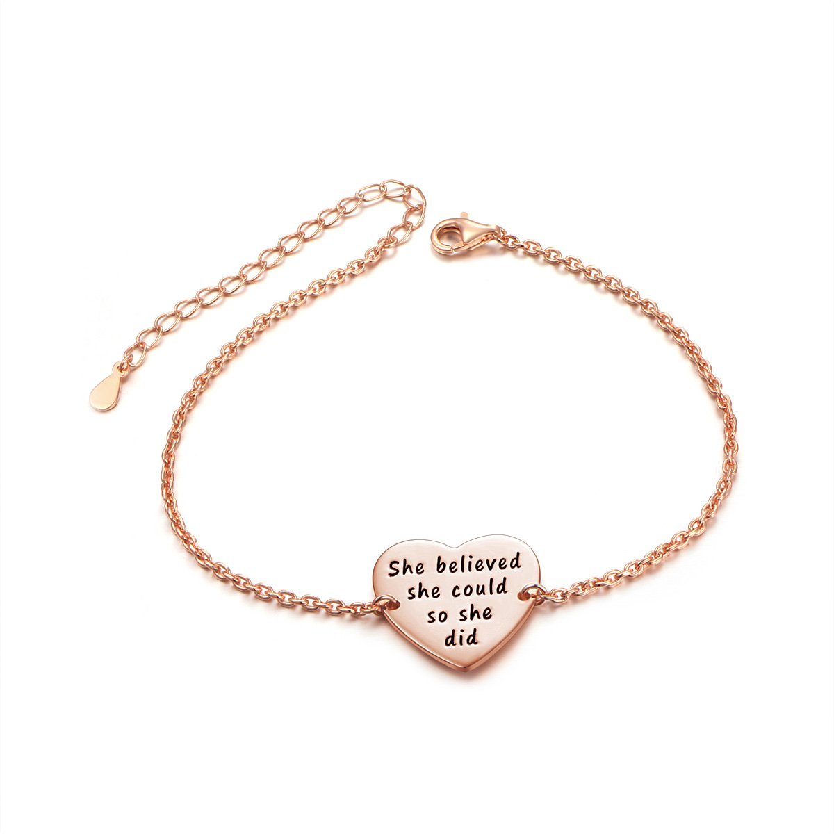 "SILVER MOUNTAIN Sterling Silver Engraved Inspirational Adjustable Bracelet ""She Believed She Could So She Did"", Graduation Gift 2018 (Rose Gold Plated)"