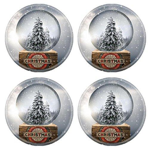 MSD Round Coasters Non-Slip Natural Rubber Desk Coasters design 24698431 A vintage christmas snow globe with white christmas tree s - Natural Snowglobe
