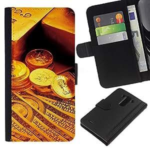 YiPhone /// Tirón de la caja Cartera de cuero con ranuras para tarjetas - Gold Bar Monedas Dinero - LG G3