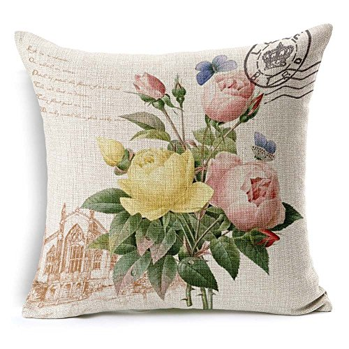 (Kathy Rural Peony Flowers Cotton Linen Sofa Cushion Cover Nordic Mediterranean Style Pillowcase for Car Home Office Hotel Indoor Decoration 009)