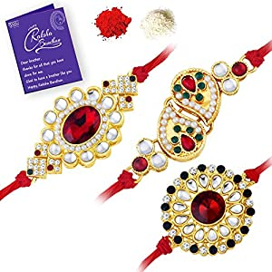 Gold Plated Kundan Rakhi Combo (Set of 3) with Roli Chawal and Greeting Card