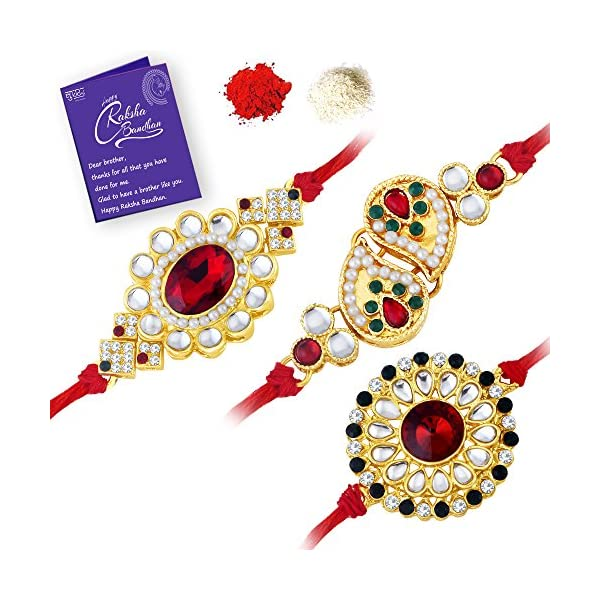 Gold Plated Kundan Rakhi Combo (Set of 3)