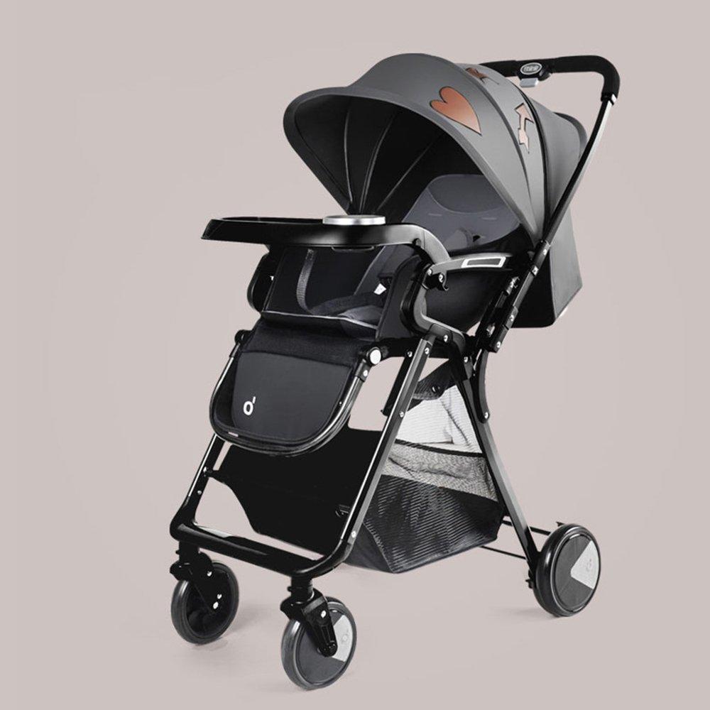 HAIZHEN マウンテンバイク ベビーシッターベビーベビーカー新生児の子供用ベビーカー0-36ヶ月古いベビーカーと耐候カバー 新生児 B07C8C6T76 グレー グレー