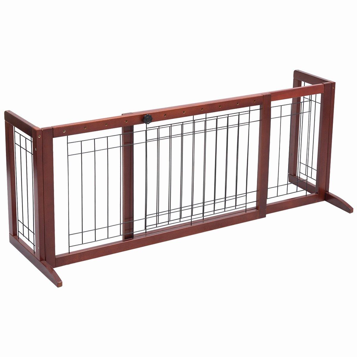 Giantex Adjustable Wooden Dog Gate Pet Fence Safety Folding Panel Freestanding