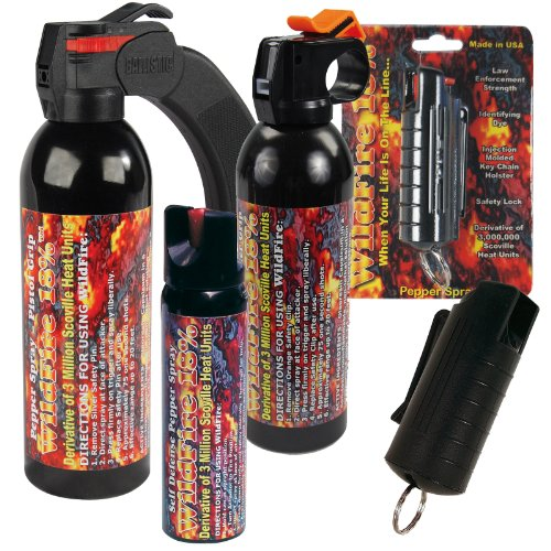 IronHawk Security Signature Bundle - Wildfire Pepper Spray Sampler Pack - Lot of (5) Units - 1/2 oz keychain, 1.5 oz keychain, 4 oz Stream, 9 oz Stream and 1 pound fogger by Wildfire Motors
