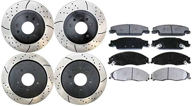 CTS Front Rear eLine Black Drilled Brake Rotors For 2005-2008 Cadillac STS