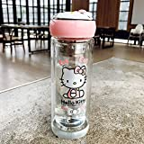 Hello kitty Glasses Creative cute double glass Travel Cup Milk coffee cup