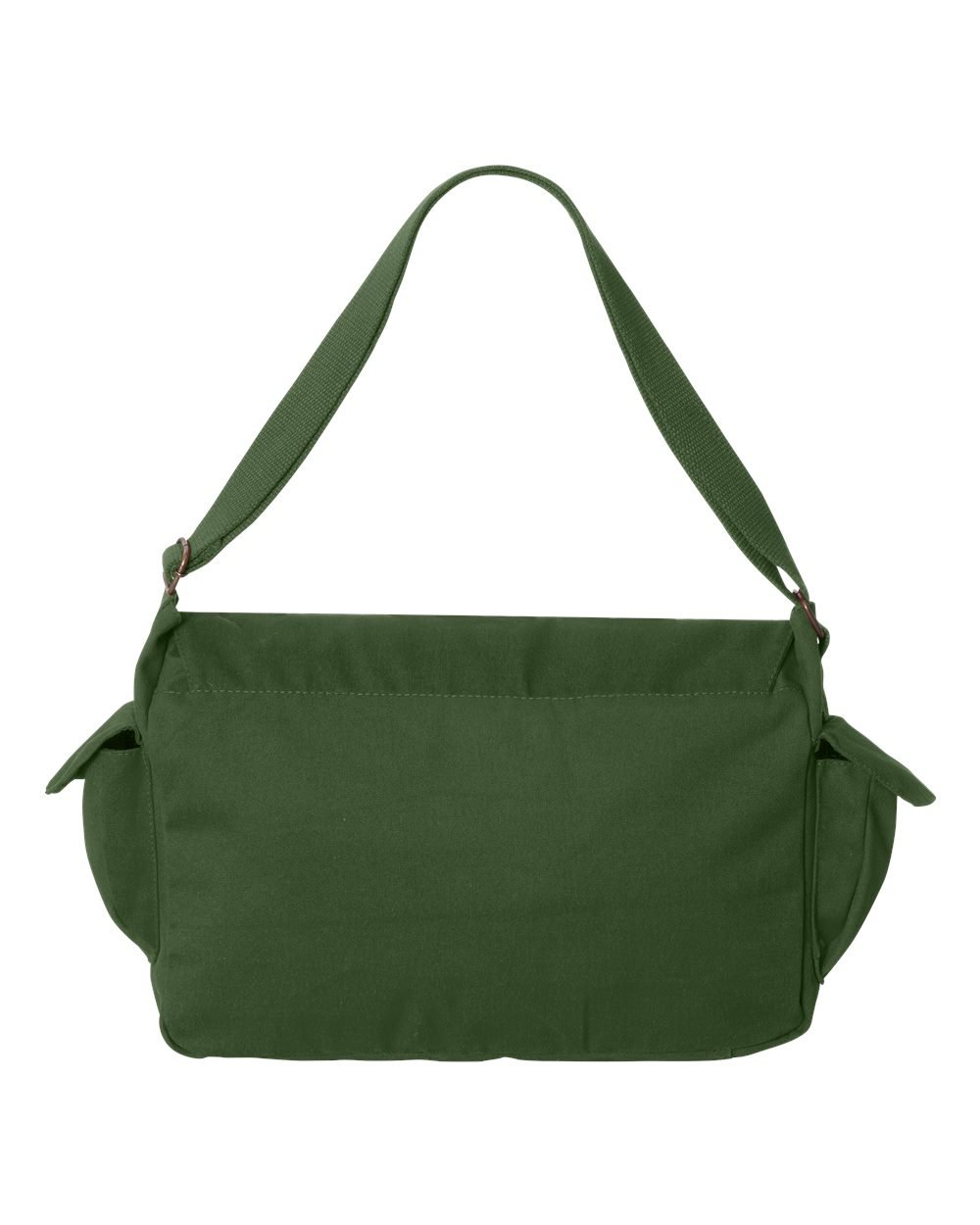 Tenacitee Fanged Pumpkin Khaki Green Raw Edge Canvas Messenger Bag