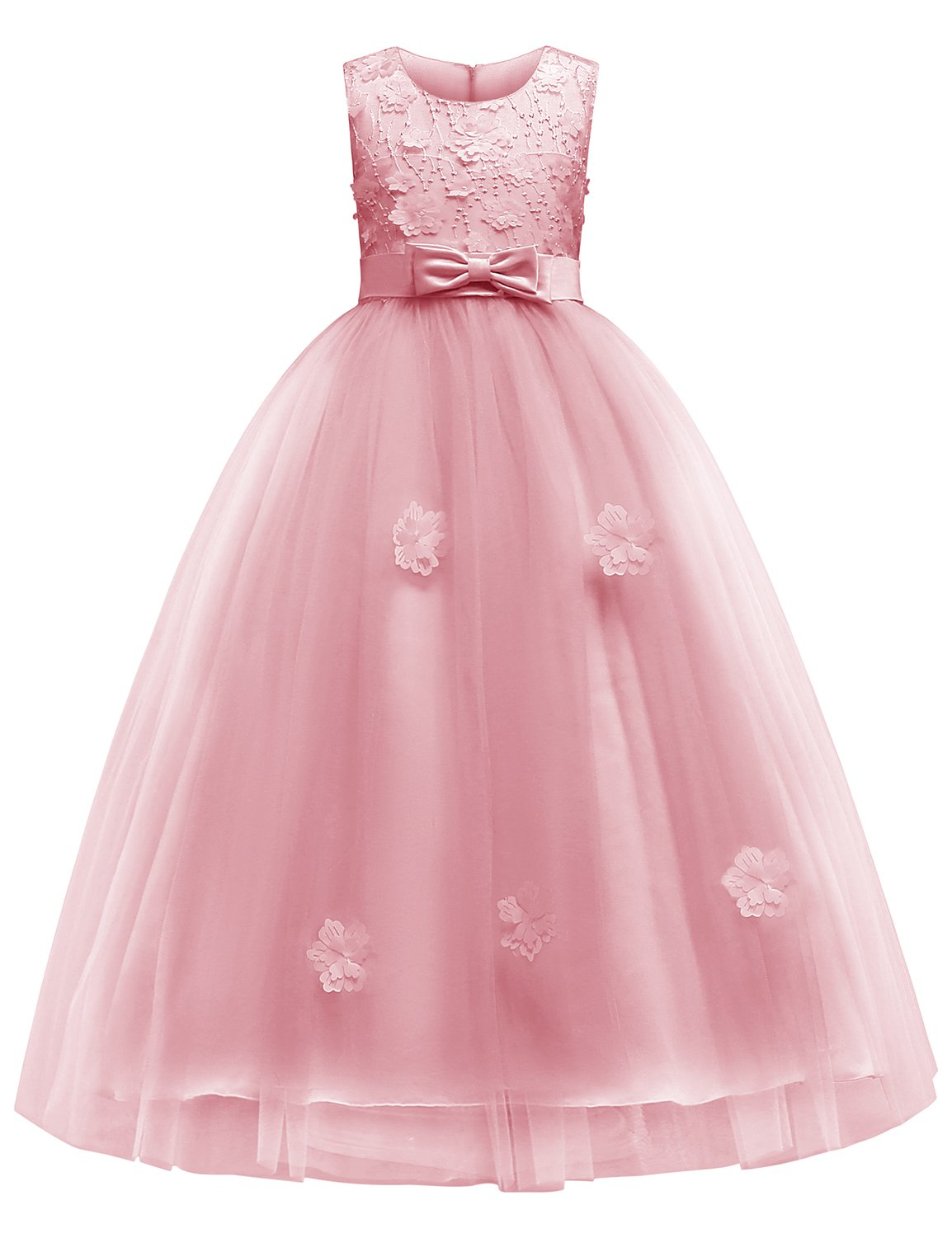 Blevonh Girls Pageant Dress Child Zipper Sleeveless Lace Big A Line Dress Butterfly Knot Summer Floral Print Dress Kids 3D Flower Wedding Party Dresses Size(140) 9-10 Year Pink Dress