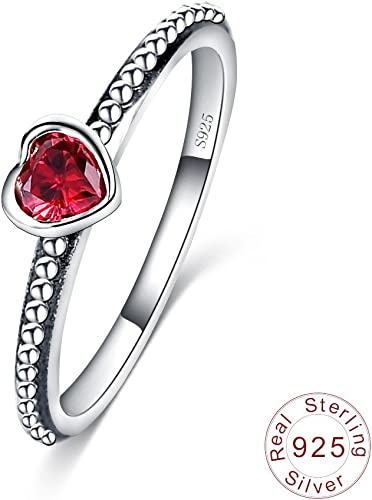Amazon Com Luckyweng 925 Sterling Silver Heart Shaped Rings Red