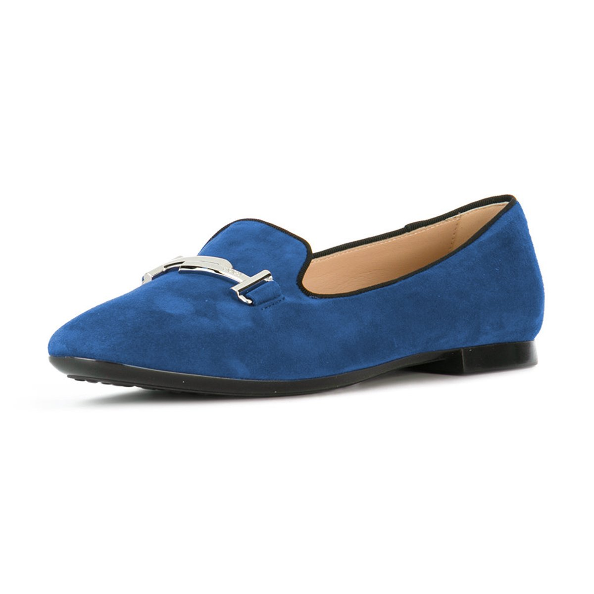 XYD Comfortable Low Heel Slip On Suede Flats Pointed Toe Ballet Loafer Dress Shoes for Women B0794T76DS 10 B(M) US|Navy
