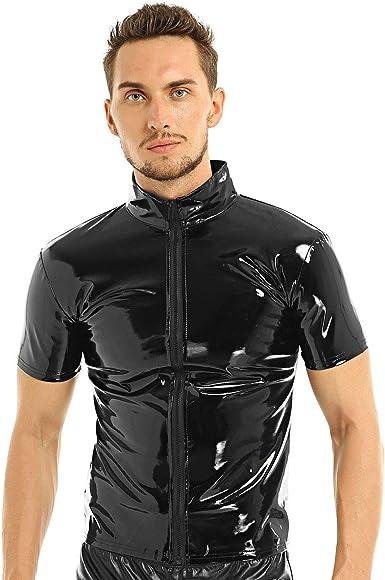 Agoky Camiseta de Cuero para Hombre Camisa Manga Corta de Charol Collar de Pie T-Shirt Ropa de Noche Fiesta Disco Clubwear Ropa Erótica: Amazon.es: Ropa y accesorios