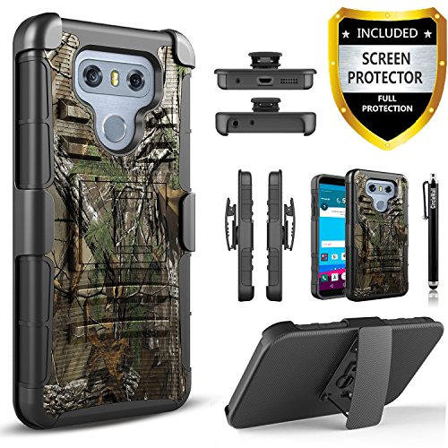 (LG G6 Case, Dual Layers [Combo Holster] Case And Built-In Kickstand Bundled with [Premium Screen Protector] Hybird Shockproof And Circlemalls Stylus Pen For LG G6 (Camo))
