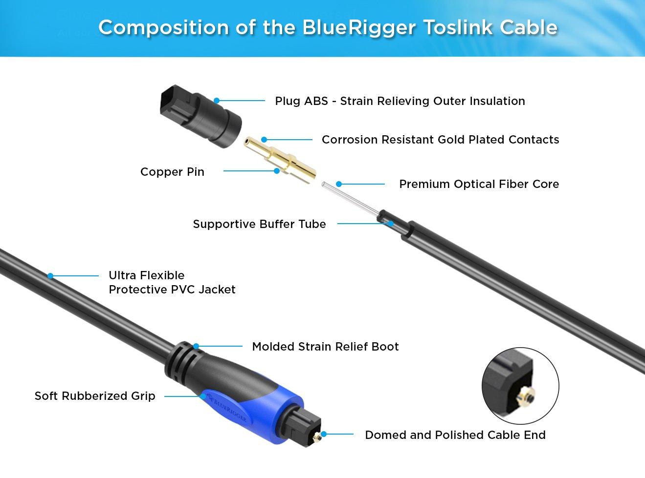Amazon.com: BlueRigger Digital Optical Audio Toslink Cable (6 feet ...