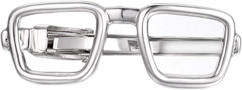 Yoursfs Gunmetal Glasses Tie Clip for Men Vintage Necktie Tie Clip Bar Wedding (Silver)