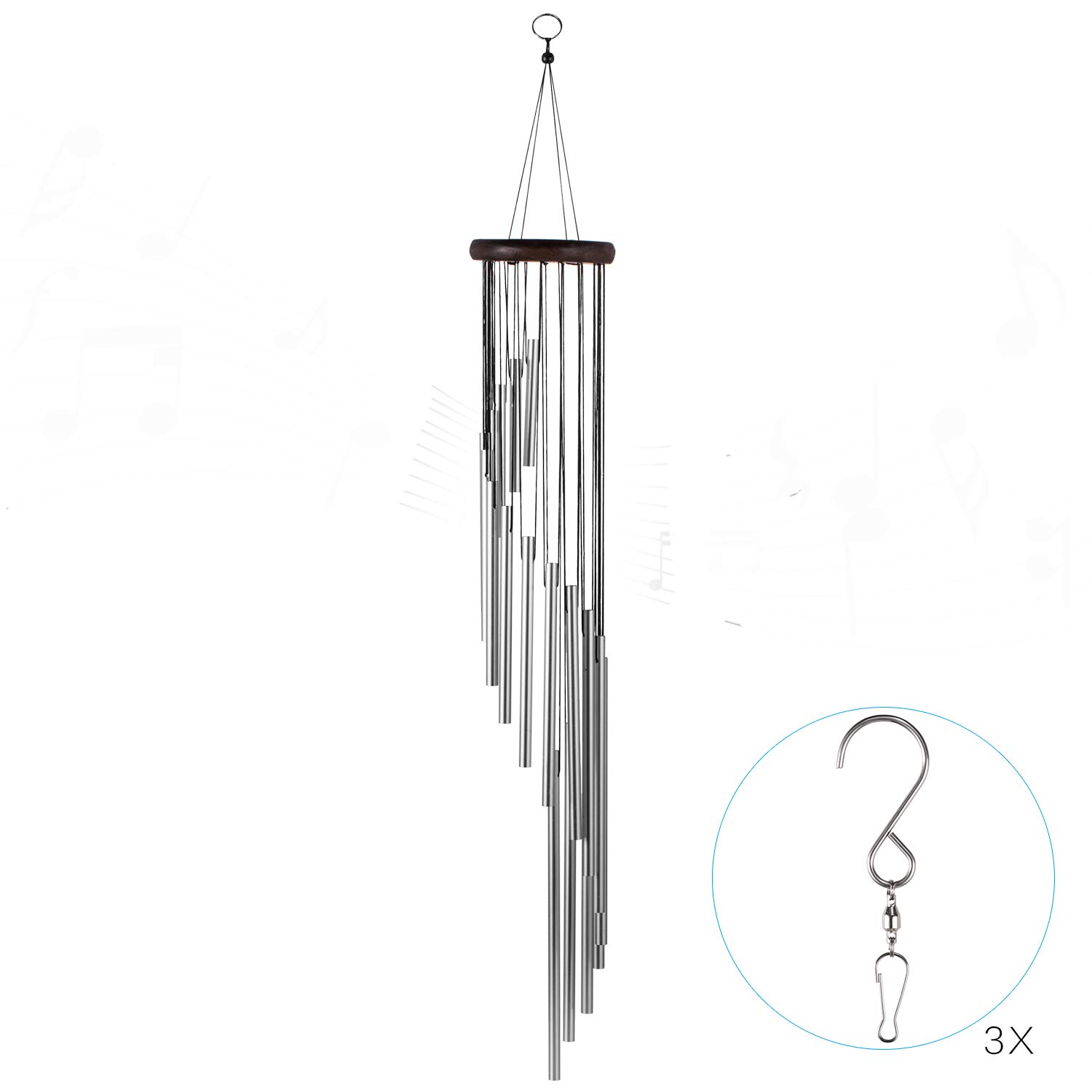 occer Wind Chimes 18 Different Length Tubes Amazing Grace Large Wind Chime with Hook, Decor for Garden, Porch, Balcony,Outdoor & Indoor