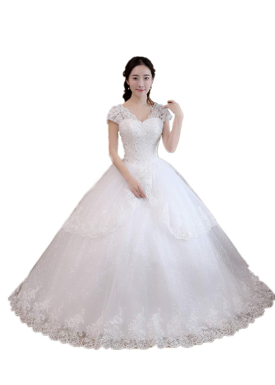 White L LYQPD V-neck Lace Appliquestrain Wedding Dress Bride Gowns White Lace Wedding Dress Bride Simple