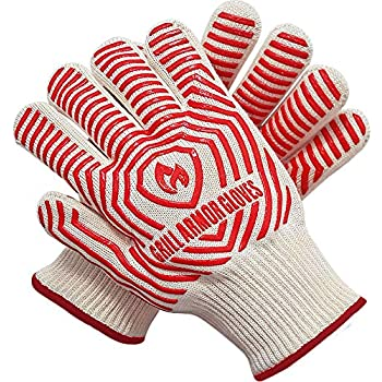 Grill Armor Extreme Heat Resistant Oven Gloves - EN407 Certified 932F - Cooking Gloves for BBQ, Grilling, Baking, Extra Small Size