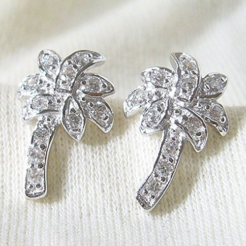 - Sterling Silver CZ palm tree Earrings (ER-61974)