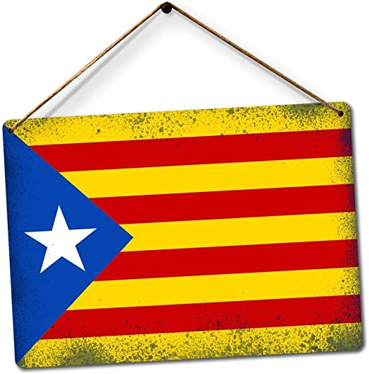 New Metal Sign Worn Catalonia Flag Art Catalan Barcelona Costa ...