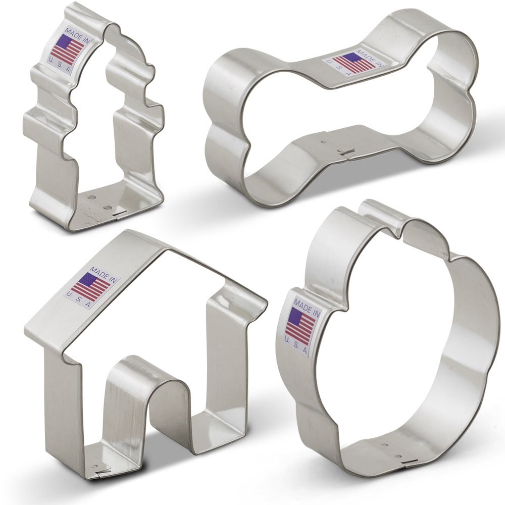 Dog Themed Cookie Cutter Set - 4 Piece - Dog Bone, Paw Print, Fire Hydrant, and Dog House - Ann Clark Cookie Cutters - US Tin Plated Steel