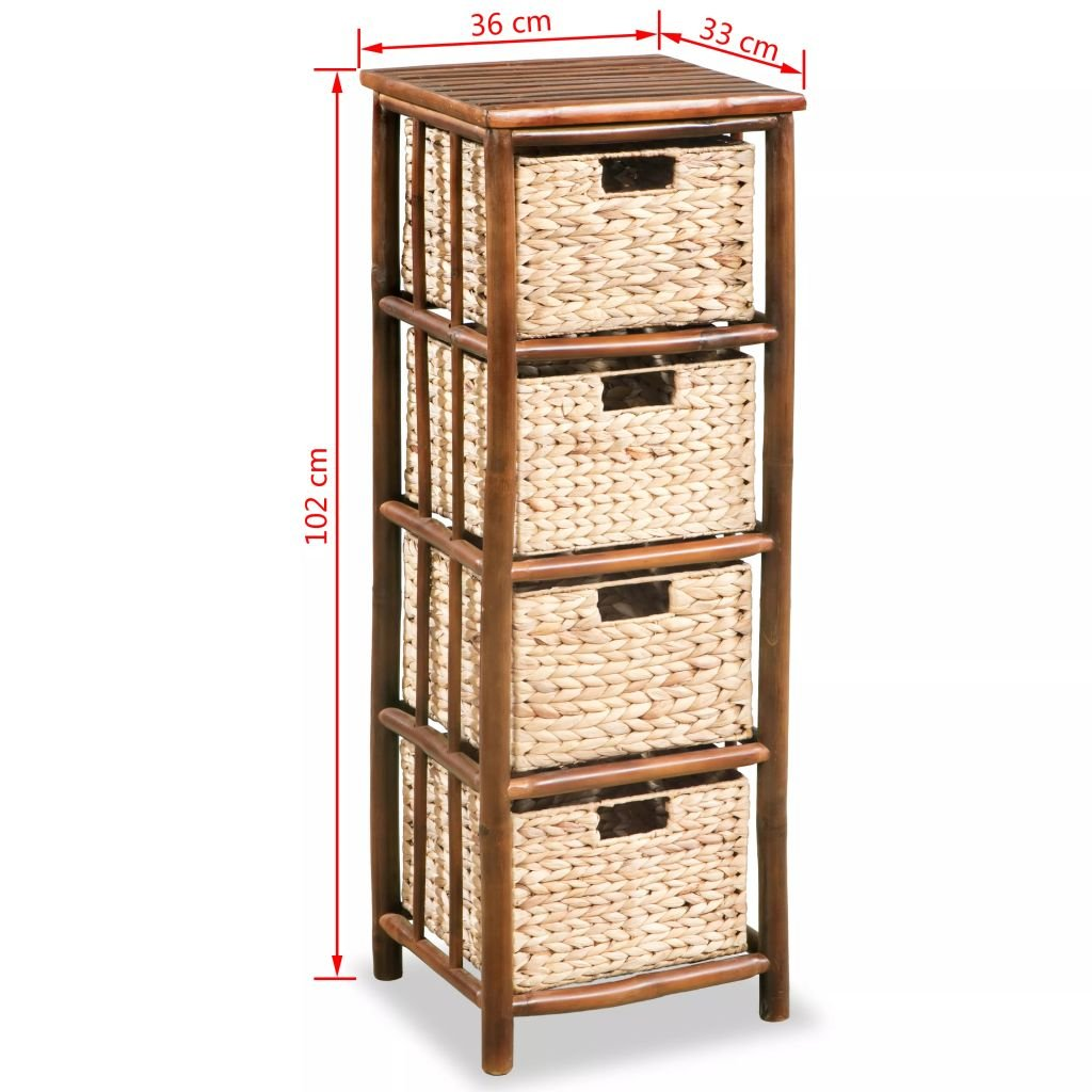 vidaXL Cajonera alta de bambú y jacinto de agua 36x33x102 cm ...