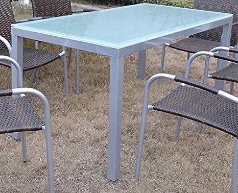 Mesa MALLORCA-150-80, aluminio, cristal blanco 150x80 cms ...
