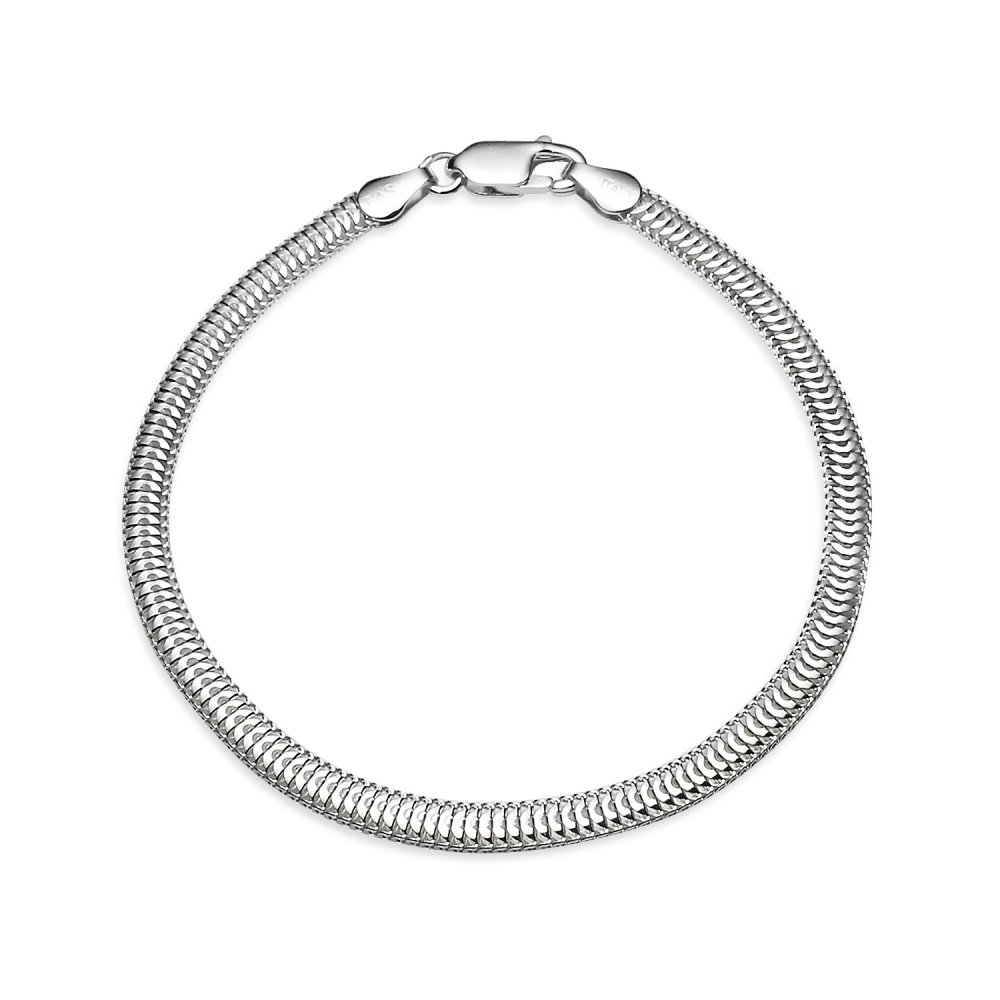 Sterling Silver High Polished Italian 3.5mm Sleek Snake Chain Bracelet, 7 Inches Hoops & Loops UK_B078PGF8RS