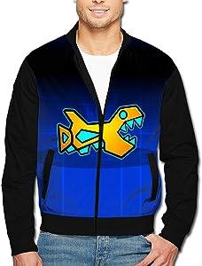 TSGZOE43 Men's Jacket Geometry Fish Dash Sweatshirt Original Design Full Zip Zipper Coat Sweater with Kangaroo Pocket Tops XL