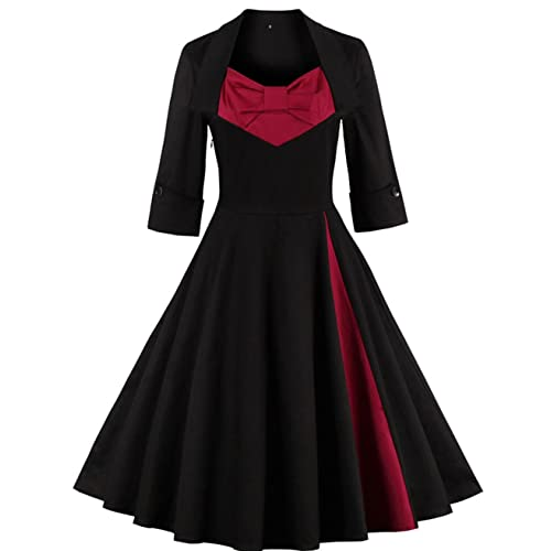 Oriention Ladies 1950s Vintage Dresses Cocktail Dress Knee Length Rockabilly Dress