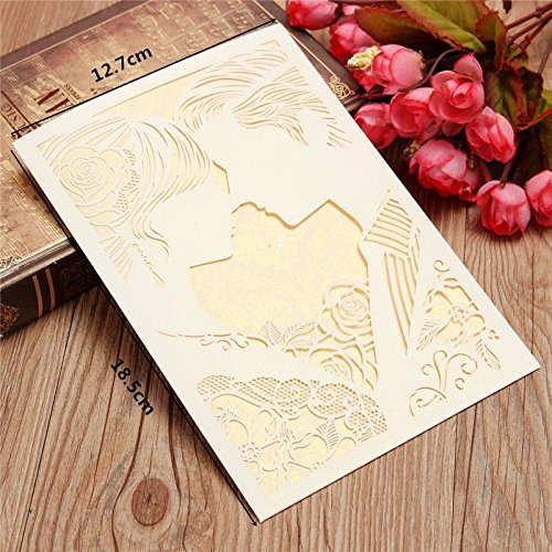 White Wedding Invitation Cards Kit with Envelopes Hollow Invitations Blank Inner Page Wedding Party Supplies 10Pcs/lot ()