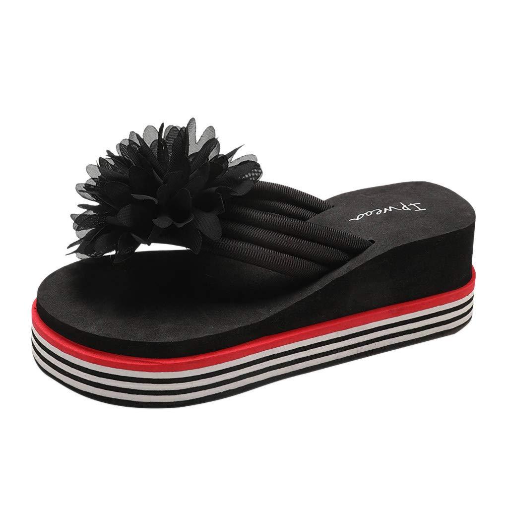 {Minikoad} Women Wedges Sandals,Ladies Beach Flip-Flops Flowers Slipper Shoes (US:5, Black)