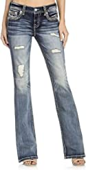 Miss Me Womens Mid-Rise Embroidered Boot Cut Jeans