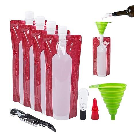 4pcs Collapsible Wine Bags+Funnel Bottle Flask Liquor Beverages Pouch Reusable