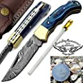 "Beautiful Blue Wood 6.5""Handmade Damascus Steel Folding Pocket Knife With Back Lock plus sharpener Rod With A Valuable Keychain 100% Prime Quality"