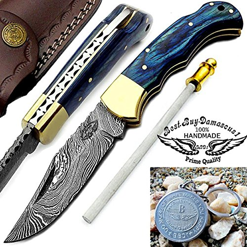 "Blue Wood 6.5"" Handmade Damascus Steel Brass Bloster plus Sharpening Rod Folding Pocket Knife Back Lock 100% Prime Quality"