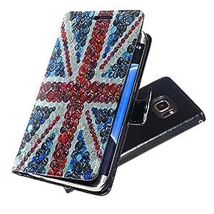 Banderas Union Jack 1, Negro Funda de Piel Cuero Case Magnética con Función de Soporte Carcasa con Diseño Texturado para Samsung Galaxy S7 Edge