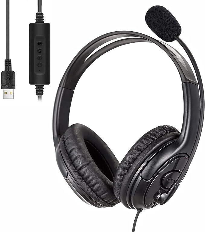 Auriculares con Microfono,Auriculares Gaming,Auriculares USB para Computadora,Auriculares Livianos y Cómodos con Control de Audio,Adecuados para ...