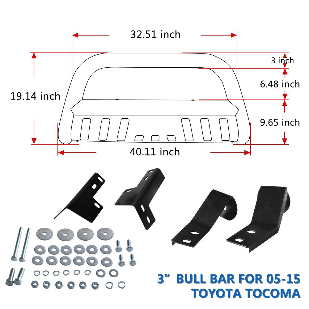 Black AUTOSAVER88 Bull Bar Compatible for 05-15 Toyota Tacoma 3 Tube Brush Push Grille Guard Front Bumper